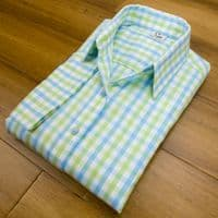 Grenouille Ladies 3/4 Sleeve Turquoise Blue and Lime Check Cotton Shirt